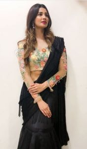 Daisy shah Style Black Colour Party Wear Saree