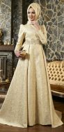 Golden Color Floor Length Gown With Hijab