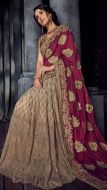 Charming Wine & Beige Cut Work Half & Half Saree
