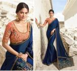 Pretty Blue Colour Festival Wear Silk Saree